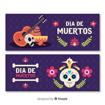 Modelo de design plano dia de muertos banners