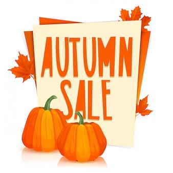 Modelo de design poster venda outono o cartaz com folhas de bordo laranja e abóboras