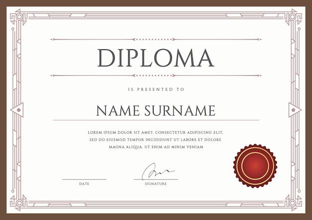 Modelo de design premium de diploma ou certificado