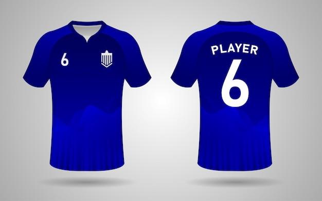 Modelo de design realista de camisa de futebol na frente e nas costas em azul escuro