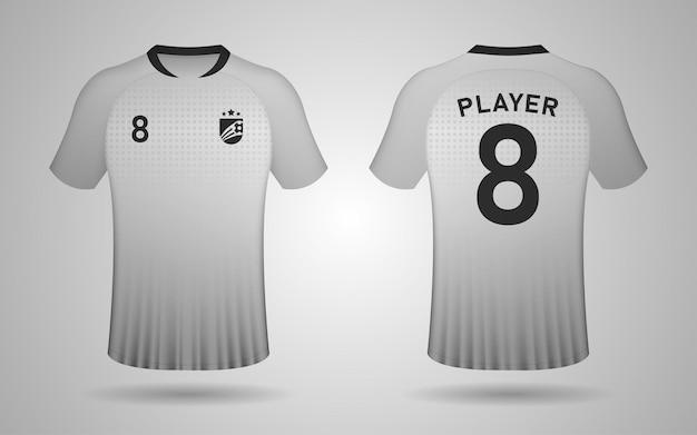 Modelo de design realista de camisa de futebol na frente e nas costas em cinza e preto