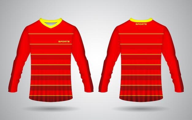 Modelo de design realista de jérsei esportivo de manga comprida na frente e nas costas nas cores vermelha e amarela