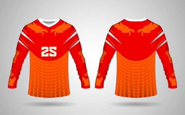 Modelo de design realista de jérsei esportivo de manga comprida na frente e nas costas nas cores vermelho, laranja e branco