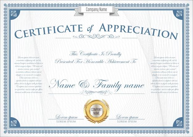 Modelo de design retro certificado ou diploma