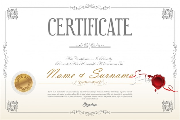 Modelo de design retrô de certificado ou diploma