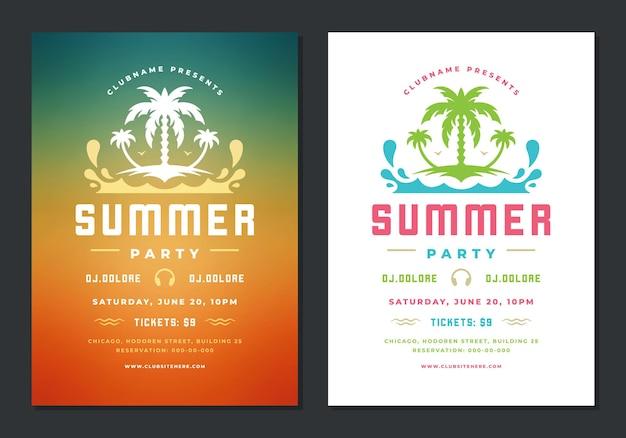 Modelo de design retro de pôster de festa de verão ou folheto