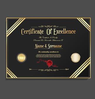 Modelo de design retro vintage de certificado ou diploma