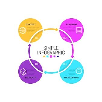 Modelo de design simples infográfico. quatro círculos com ícones lineares