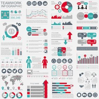 Modelo de design vectorial de trabalho em equipe infographic. pode ser usado para fluxo de trabalho, inicialização, negócios