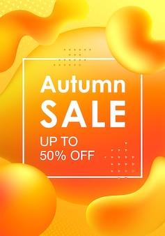 Modelo de design vertical de outono para uma promoção e descontos com formas gradientes coloridas