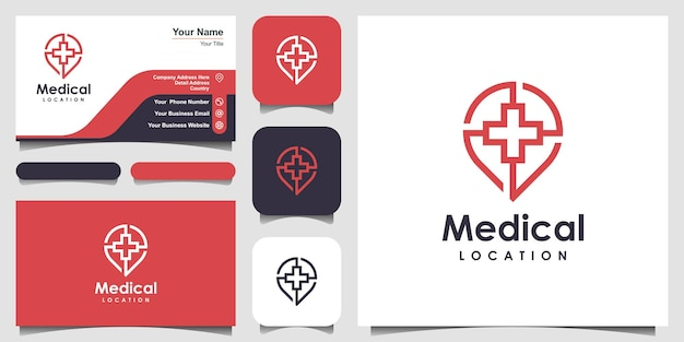 Modelo de designs de logotipo de localização médica. símbolo mais combinado com mapas de pinos.