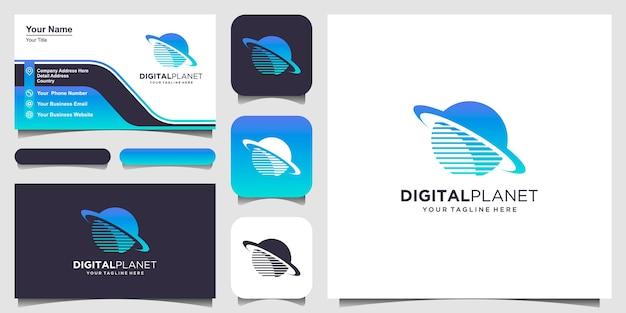 Modelo de designs de logotipo de planeta digital. pixel combinado com o signo do planeta.