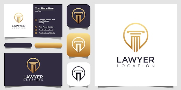 Modelo de designs de logotipo law and attorney com estilo de arte de linha e cartão de visita