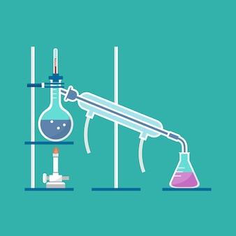 Modelo de destilação simples no vetor de laboratório de química