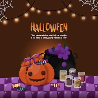 Modelo de dia das bruxas. abóbora e panela tóxica sobre o tema de mesa de halloween.