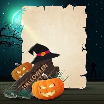 Modelo de dia das bruxas em forma de folha de papel para seu projeto com sinal de madeira, chapéu de bruxa e abóbora jack