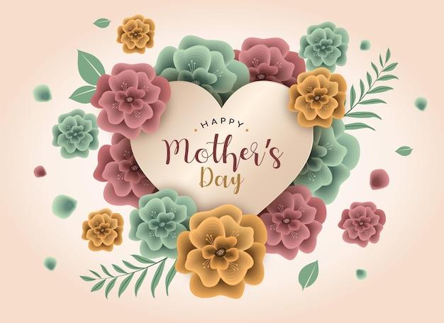 Modelo de dia das mães com coração e cartão gráfico de flores