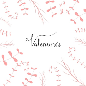 Modelo de dia dos namorados com plantas. estilo de desenho animado. ilustração vetorial.