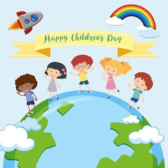 Modelo de dia feliz das crianças
