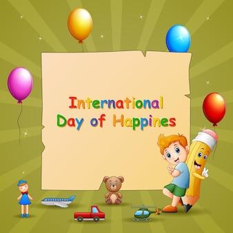 Modelo de dia internacional da felicidade com menino e brinquedos