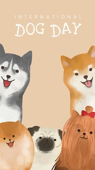 Modelo de dia internacional do cachorro, vetor, história de mídia social