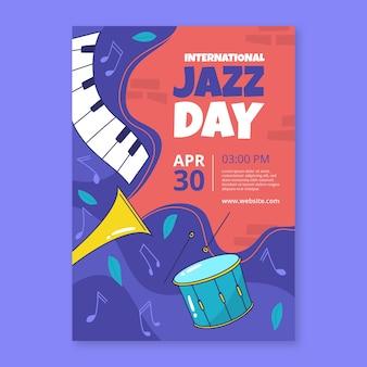 Modelo de dia internacional do jazz desenhado à mão