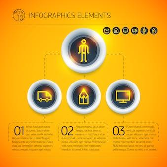 Modelo de diagrama de infográfico de negócios