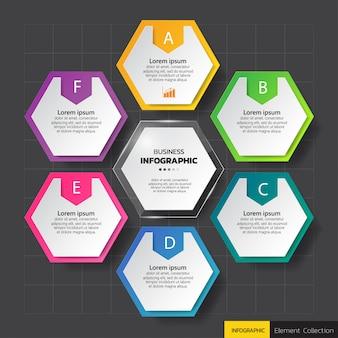 Modelo de diagrama de infográficos hexágono colorido.