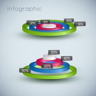 Modelo de diagrama de negócios 3d com campos de texto e com proporção de porcentagem
