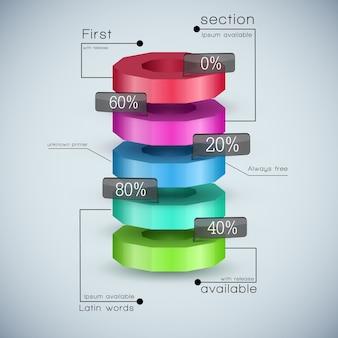 Modelo de diagrama de negócios 3d realista com campos de texto e proporção de porcentagem coloridos