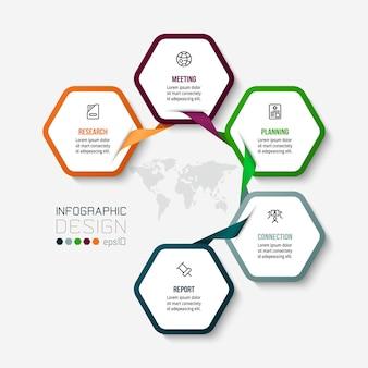 Modelo de diagrama de negócios infográfico com etapa ou opção.