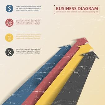 Modelo de diagrama de negócios plana com setas coloridas e vários campos de texto