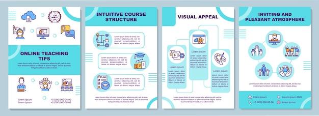 Modelo de dicas de ensino online. estrutura do curso intuitivo. folheto, folheto, impressão de folheto, design da capa com ícones lineares.