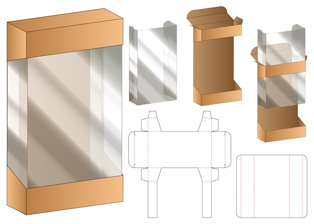 Modelo de dieline de embalagem de caixa de janela de plástico