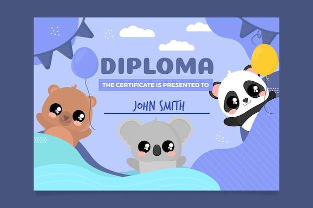 Modelo de diploma abstrato para crianças