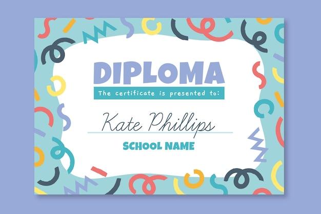 Modelo de diploma colorido para crianças