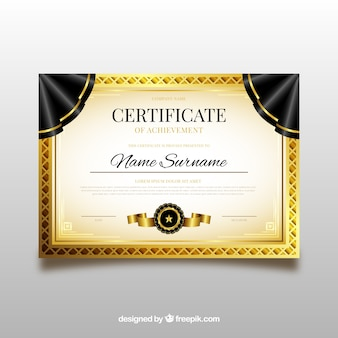 Modelo de diploma com elementos dourados