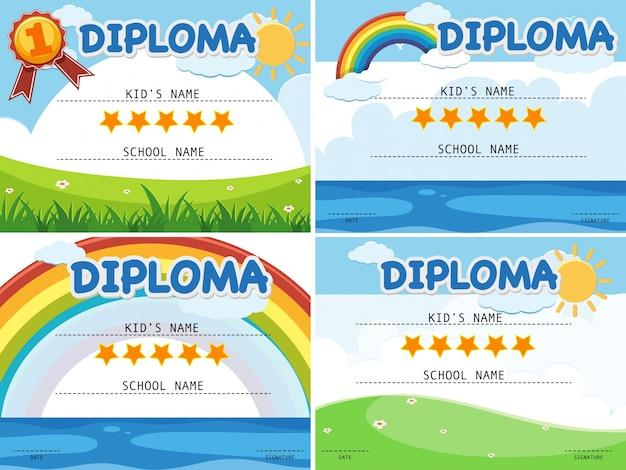 Modelo de diploma com quatro fundos diferentes