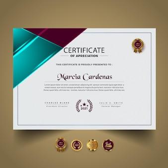 Modelo de diploma de certificado moderno premium