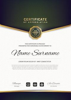 Modelo de diploma de certificado premium