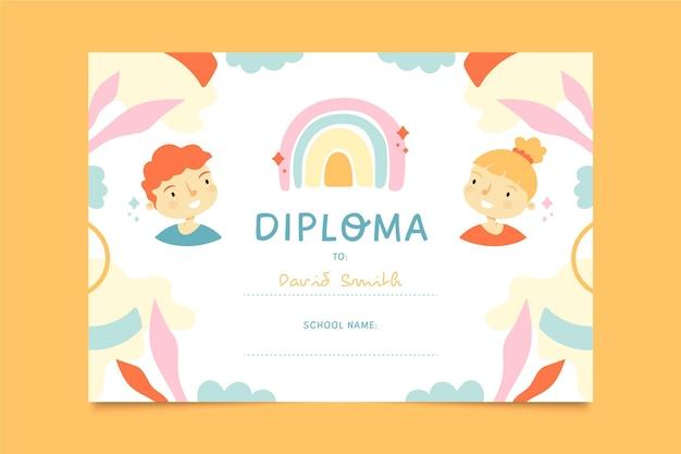 Modelo de diploma de crianças