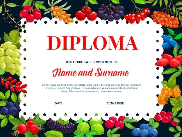 Modelo de diploma de escola com jardim e buckthorn de frutos silvestres, chokeberry preto e cereja. blueberry, espinheiro ou mirtilo, cereja de pássaro ou madressilva, certificado de educação infantil de desenho animado
