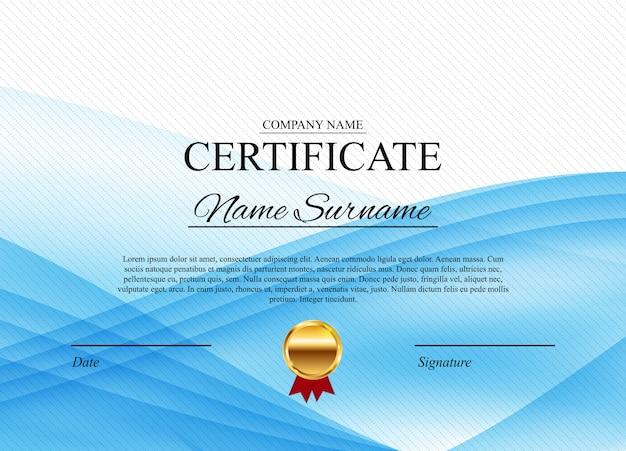 Modelo de diploma de prêmio certificado