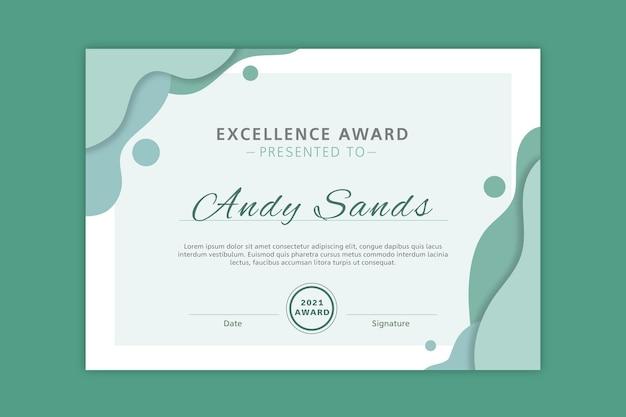 Modelo de diploma de prêmio de excelência