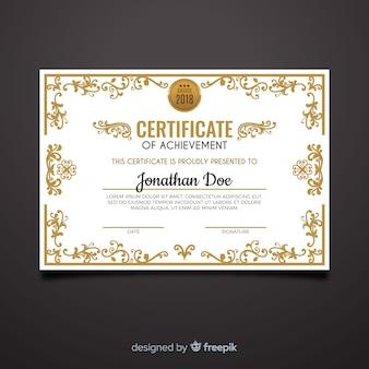 Modelo de diploma decorativo com elementos dourados