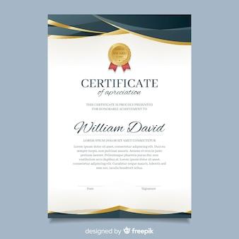 Modelo de diploma elegante com elementos dourados
