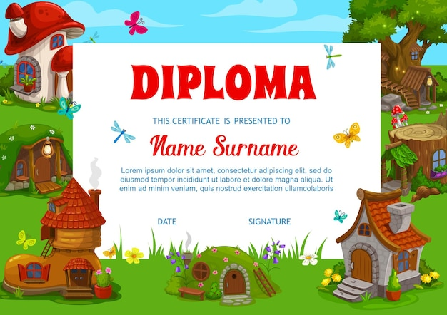 Modelo de diploma infantil com desenhos de casas de anões, gnomos e fadas