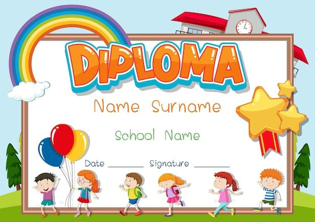 Modelo de diploma ou certificado para crianças em idade escolar