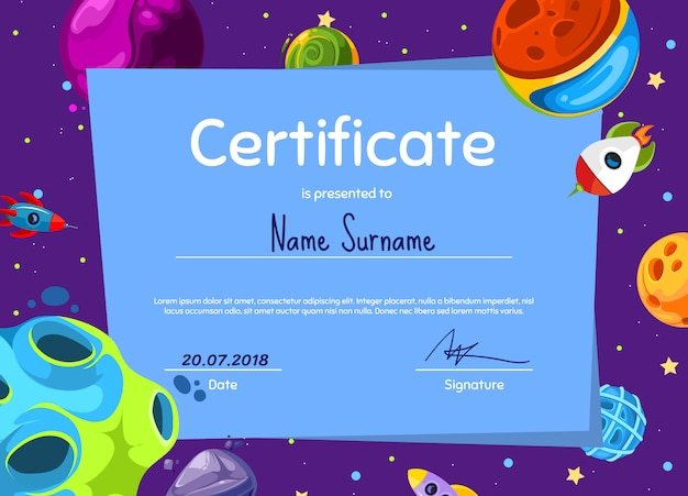 Modelo de diploma ou sertificate de crianças com planetas de espaço dos desenhos animados e conjunto de navio