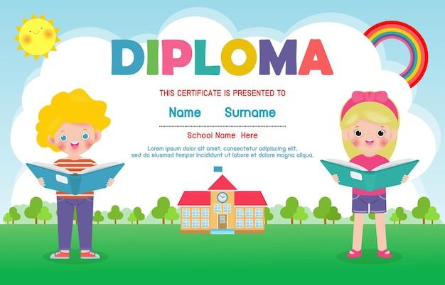 Modelo de diploma para crianças certificados de jardim de infância e ensino fundamental